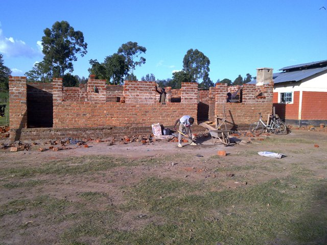 The children's home building almost at roof height