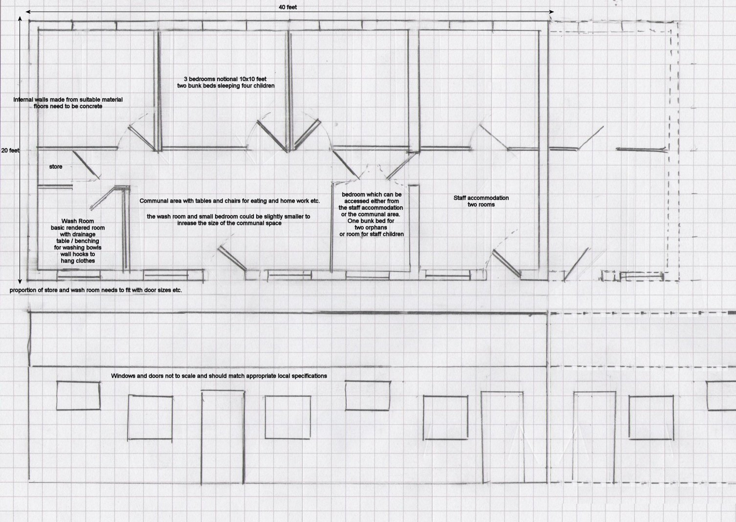 initial draft plan for first accommodation building of the Children's Home at Moi's Bridge